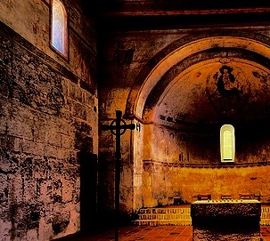 inside an old cathedral