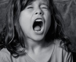 young girl yelling the final line of a poem