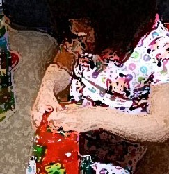 unwrapping a gift