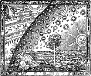 old engraving of the reality beyond - the 'flammarion'